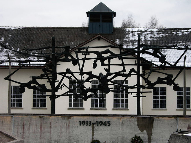Dachau Concentration Camp, now Memorial Site: Sculpture created by Nandor Glid