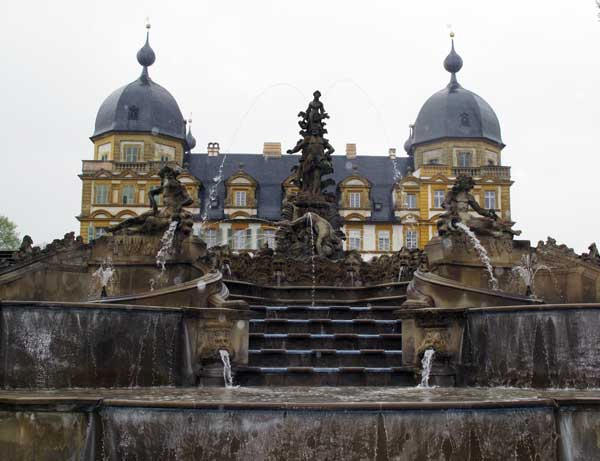 Fountains behind Seehof Palace