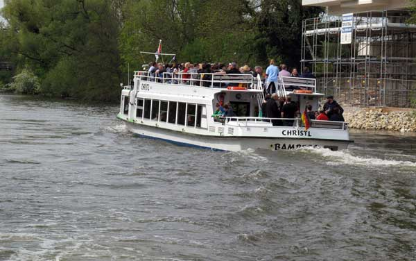 Bamberg - Tour Boat with passagers on river Stegnitz
